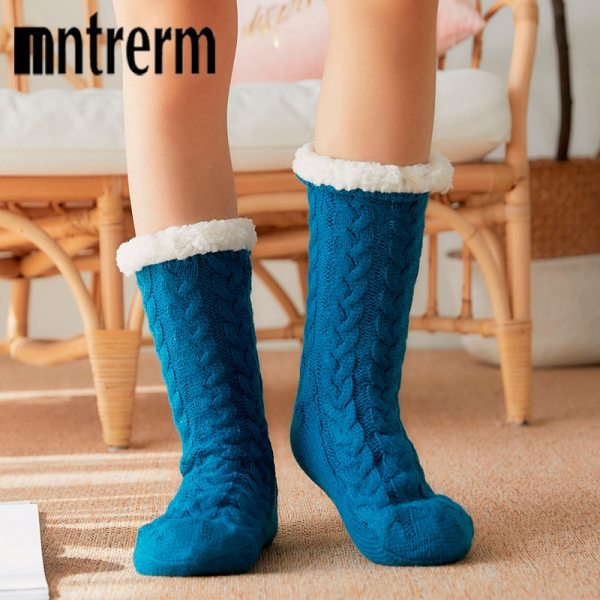 Glglgege twist stripes Winter Women Socks Women Non slip Adult Floor Socks Indoor Warm Shoes Soft