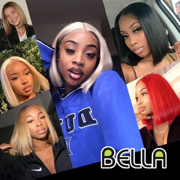 Short Wigs Bob Synthetic Lace Front Wig Blonde 613 Red Lemon Green Blue Straight Hair Short 5
