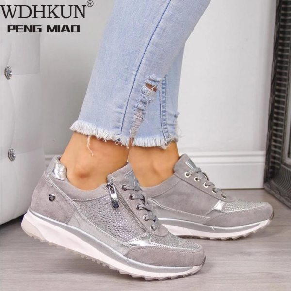 Women Shoes Gold Sneakers Zipper Platform Trainers Women Shoes Casual Lace Up Tenis Feminino Zapatos De