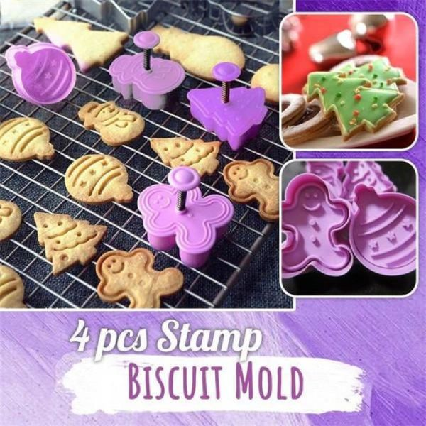 4pcs Stamp Biscuit Mold Cookie Stamp 3D Cookie Plunger Cutter Pastry Decorating DIY CHRISTMAS Animals Car