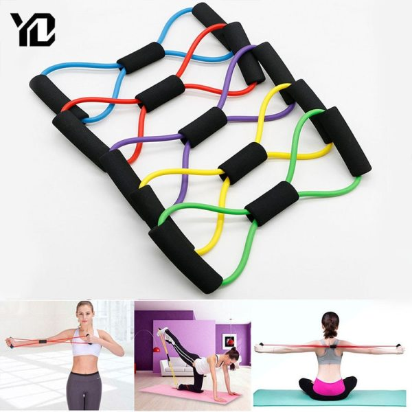 TPE 8 Word Fitness Yoga Gum Resistance Rubber Bands Fitness Elastic Band Fitness Equipment Expander Workout