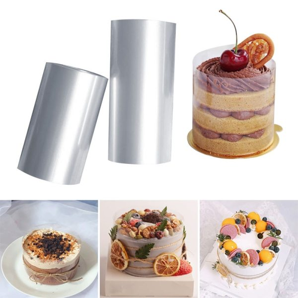 1 Roll Transparent Clear Cake Baking Collar Kitchen Cake Wrapping Tape Surround Film Lining Rings Cake 1