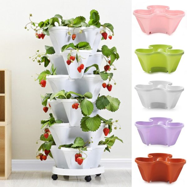 3D Flower Pot Strawberry Basin Multi layer Superimposed Corrosion Resistant Not Easily Deformed JA55