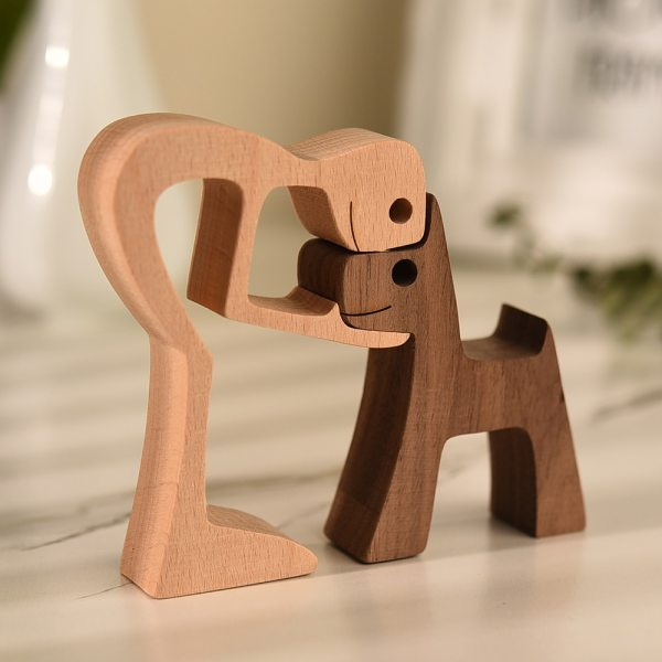 Family Puppy Wooden Dog Craft Figurine Desktop Table Ornament Wood Carving Model Creative Home Office Decoration