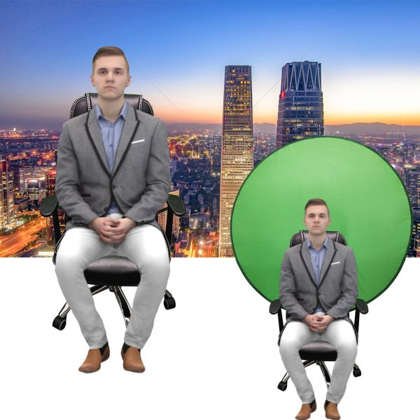 Green Screen Backdrops Photography Background Portable Fold Reflector for Live Broadcast YouTube Video Studio Round 142cm