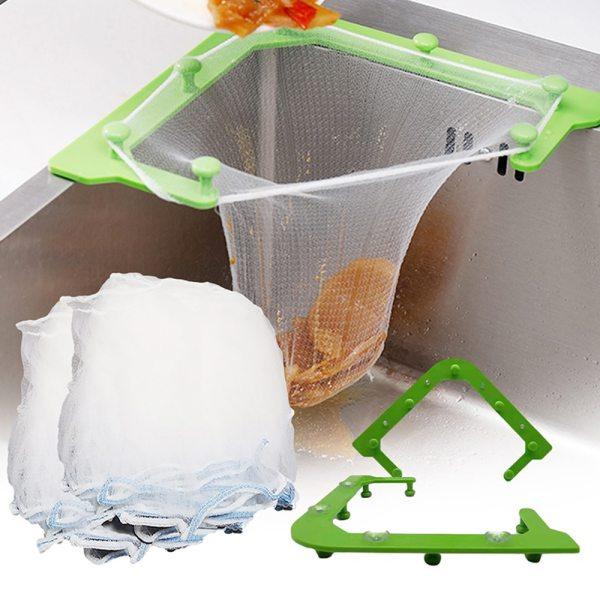 Multifunctional Triangle Drainage Rack Kitchen Sink Leftovers Filter Hanging Net Drain Basket Kitchen Anti blocking Funnel
