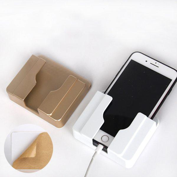 Multifunctionl Wall Mount Phone Bracket Self Adhesive Phone Charging Holder Charger Rack Shelf Universal Stand Shelf
