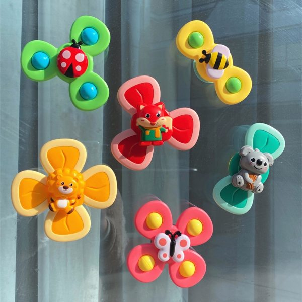Novelty Baby Toys Cute Cartoon Insects Suction Cup Spinner Toy Bath Toys For Children Baby Rattle