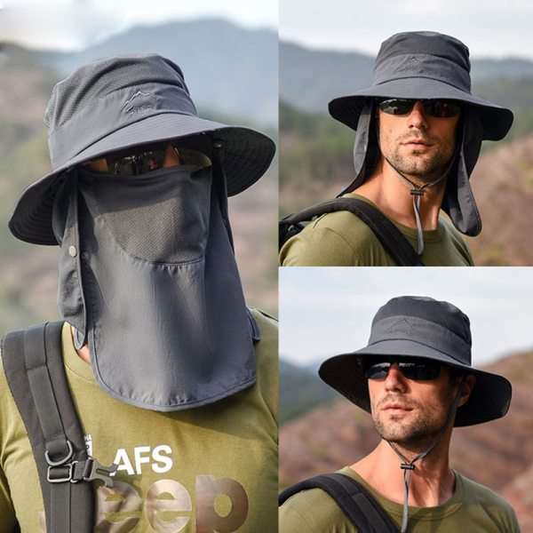 Summer Quick drying Boonie Men Women Hat Outdoor Face Mask Wide Brim Bucket Hat Sun Protection