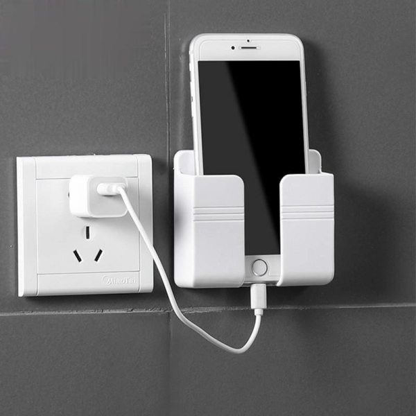 1PC Wall Mounted Organizer Storage Box Remote Control Mounted Mobile Phone Plug Wall Holder Charging Multifunction