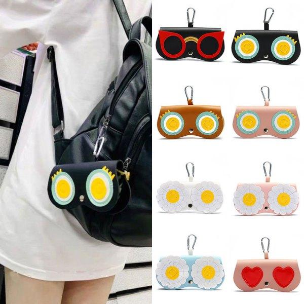 2021 INs Women PU Leather Cute Cartoon Eye Glasses Case Glasses Storage Protection Sunglass Box Portable