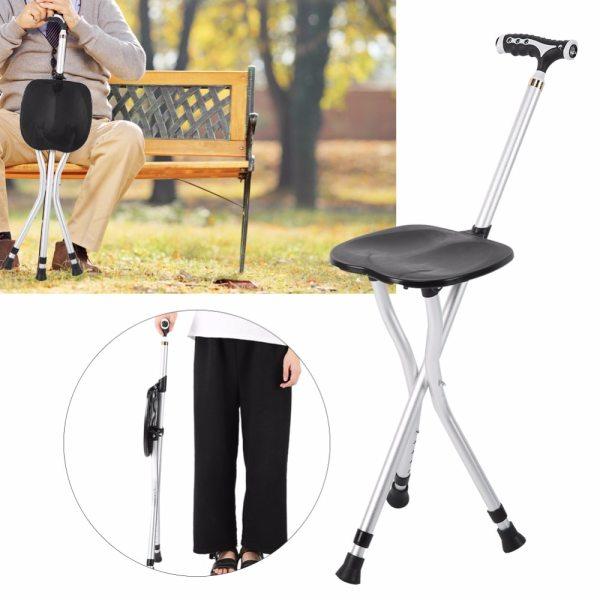 2in1 Folding Walking Stick Tripod Stool Adjustable Height Anti Slip Elderly Walking Cane Crutch Chair Rest