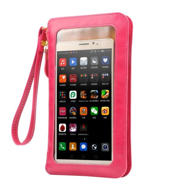 5 4 6 9 Touch Screen Cell Phone Purse Smartphone Wallet PU Leather Shoulder Strap Handbag