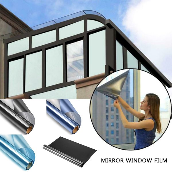 50X200CM Window Film Sticker Privacy Vinyl Self adhesive Mirror Glass Window Film Reflective Heat Control Sunscreen