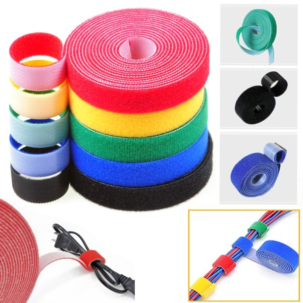5Meter Roll 15 20mm Color Velcros Self Adhesive Fastener Tape Reusable Strong Hooks Loops Cable Tie