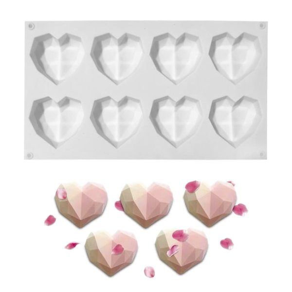 8 Cavities Heart Shaped Chocolate Silicone Mold for Handmade Candy Cake Mold Dessert Baking Pan Home