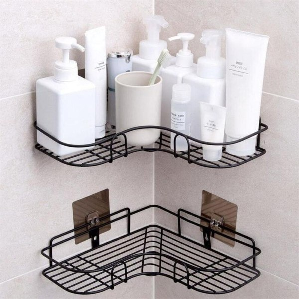Bathroom Accessories Shelf Home Storage Rack Stainless Steel Punch Free Firm Shower Kitchen Fitted Wall Storage