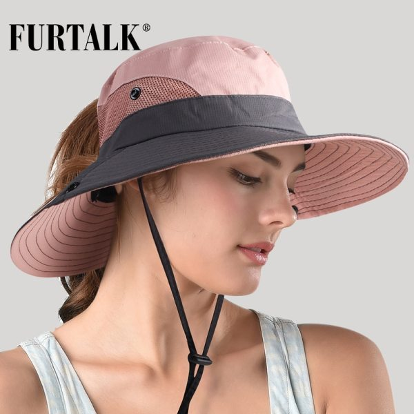 FURTALK Safari Sun Hats for Women Summer Hat Wide Brim UV UPF Protection Ponytail Outdoor Fishing