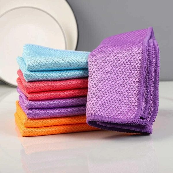 Fish Scale Microfiber Polishing Cleaning Cloth 5pcs Soft Microfiber Cleaning Towel Absorbable Glass Kitchen In Stock