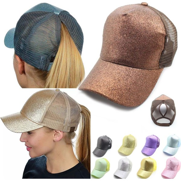 Glitter Ponytail Mesh Hat Men Women Baseball Cap Adjustable Female Sequins Shine Sport Dancing Summer Sun
