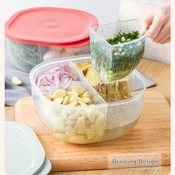 Green Onion Crisper Kitchen Ginger Garlic Storage Box Refrigerator Fruit Portable Freshness Preservation Drain Seal