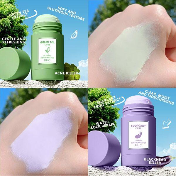 Green Tea Purifying Stick Mask Oil Control Anti Acne Eggplant Solid Fine