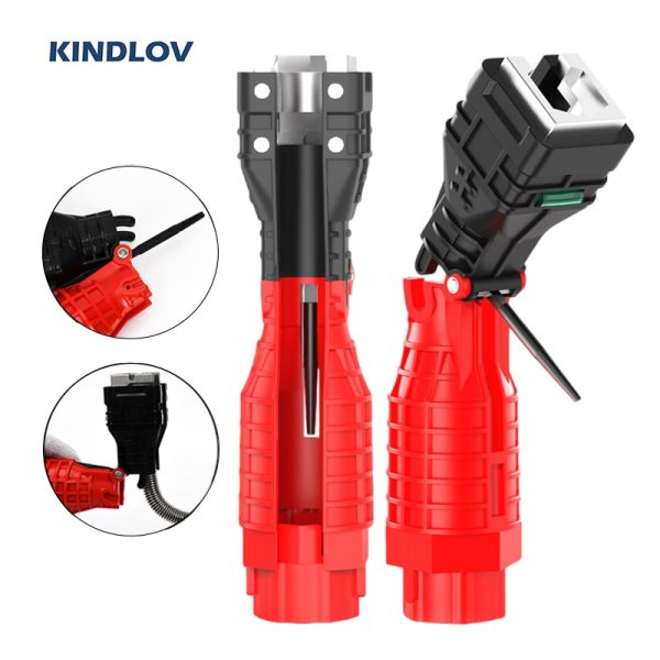 KINDLOV Water Pipe Wrench 18 In 1 Multifunctional Sink Wrench Faucet Sink Installation Spanner Bathroom Maintenance