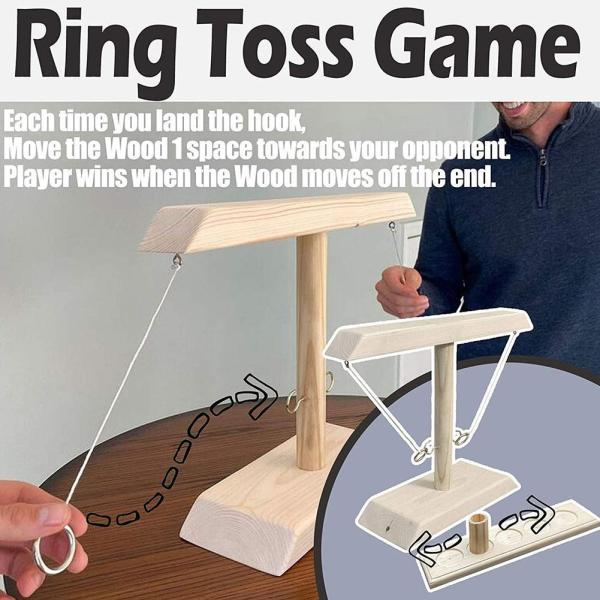 Party Toys Handmade Wooden Ring Toss Hooks Fast paced Interactive Game for Bars Home Hook and