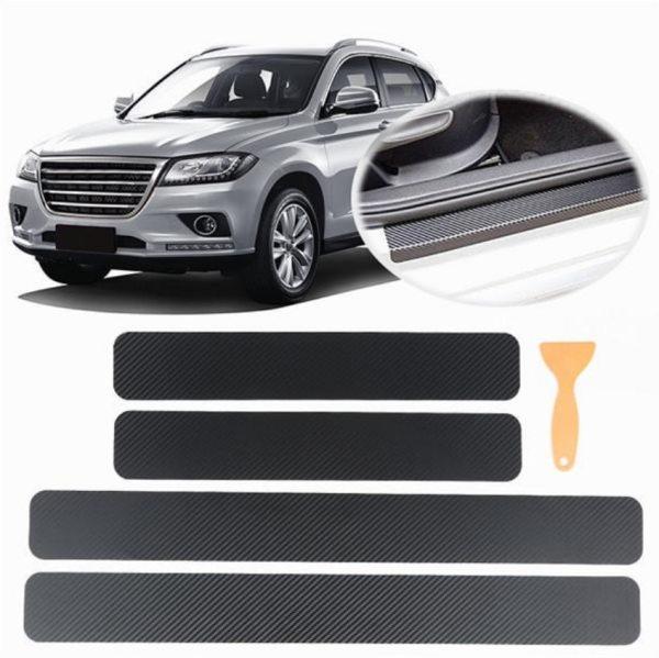 Universal 4PCS Set 3D Carbon Brazing Car Pedal Stickers Sill Scuff Anti Scratch Carbon Fiber Auto