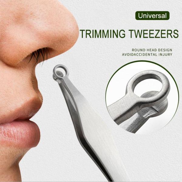 Universal Nose Hair Trimming Tweezers Professional Round Tip Eyebrow Tweezer Stainless Steel Nose Hair Removal Tweezers