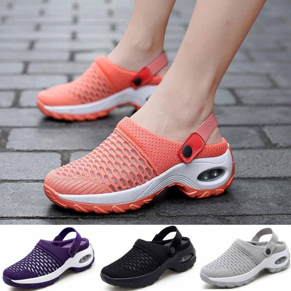 Women Tennis Shoes Breathable Mesh 5cm Height increasing Slip on Air Cushion Slippers Outdoor Walking Jogging