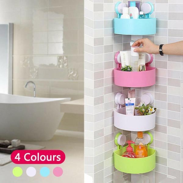 Bathroom Corner Storage Rack Organizer Shower Wall Suction Home with Shelves Corner Shelf Bathroom Cup Kitchen