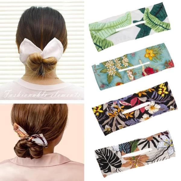 Deft Bun Women Fashion Fabric Hair Bands Hair Rope Summer Knotted Wire Headband Print Hairpin Accessories