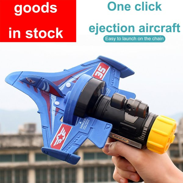 Foam Catapult Airplane One Button Airplane Model Toys for Children Boys Outdoor Interactive Game Assembled Aircraft