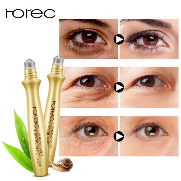 ROREC Eye Serum Anti Wrinkle Snail Essence for Eyes Anti Puffiness Against Bags Hyaluronic Acid Solution