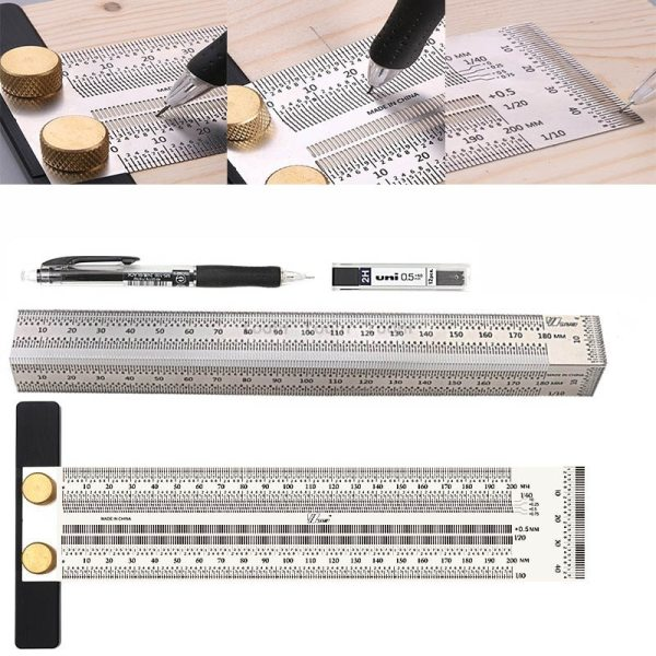 Woodworking Scribe High precision Scale Ruler Hole Scribing ruler crossed out Line Drawing Marking Gauge Measuring