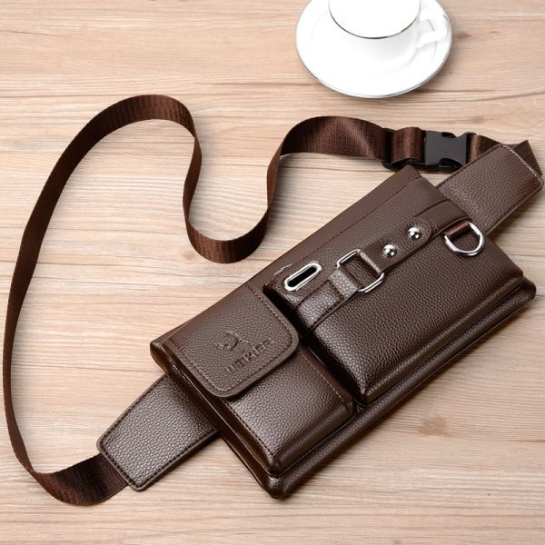 Brand Men s Waist Bag Leather Male Fanny Pack New Male Shoulder Chest Bags for Phone