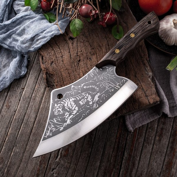 Butcher Kitchen Knife Stainless Steel Meat Fish Vegetables Slicing Chef Knife Chinese Cleaver Tiger Pattern Cooking