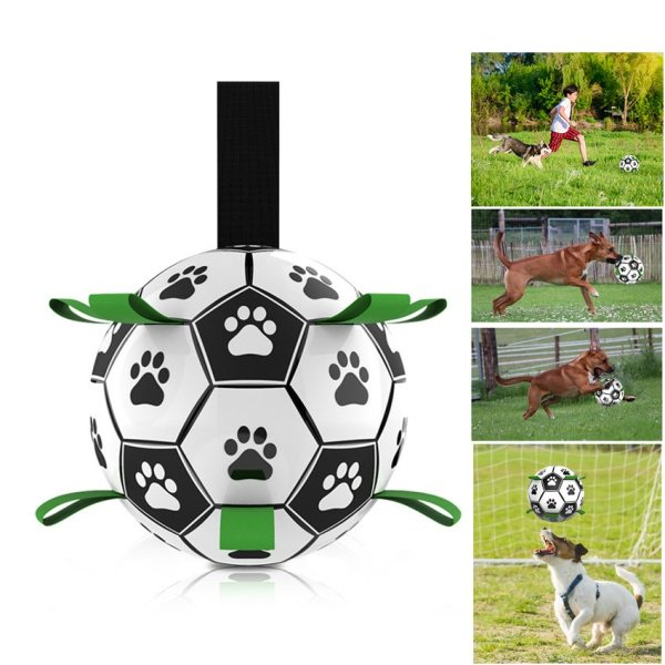 Dog Toys Interactive Pet Football Toys with Grab Tabs Dog Outdoor training Soccer Pet Bite Chew