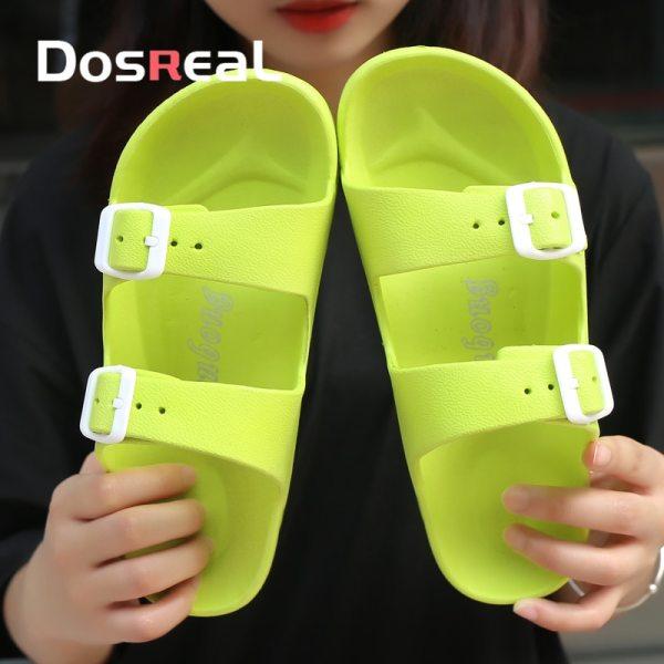 Dosreal New Summer Jelly Shoes Women Beach Sandals Hollow Slippers Ladies Flip Flops Buckle Light Sandalias
