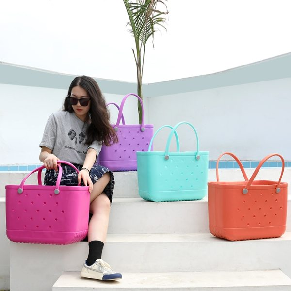 Extra Large Beach Bags Leopard Solid Color Summer EVA Basket Women Large Capacity Beach Bag Totes 4