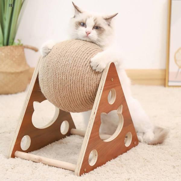 Wooden Pet Ball Cat Scratch Catch DurableToy Cat Grinding Paws Scratcher Climbing Frame Cat Scra for