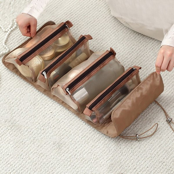 Women Fold Cosmetic Bag with Large Capacity Makeup Brush Storage Bag Waterproof Compartment Travel Makeup Brush