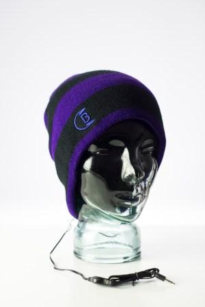 CozyB - Purple Striped Beanie Headphone Front View