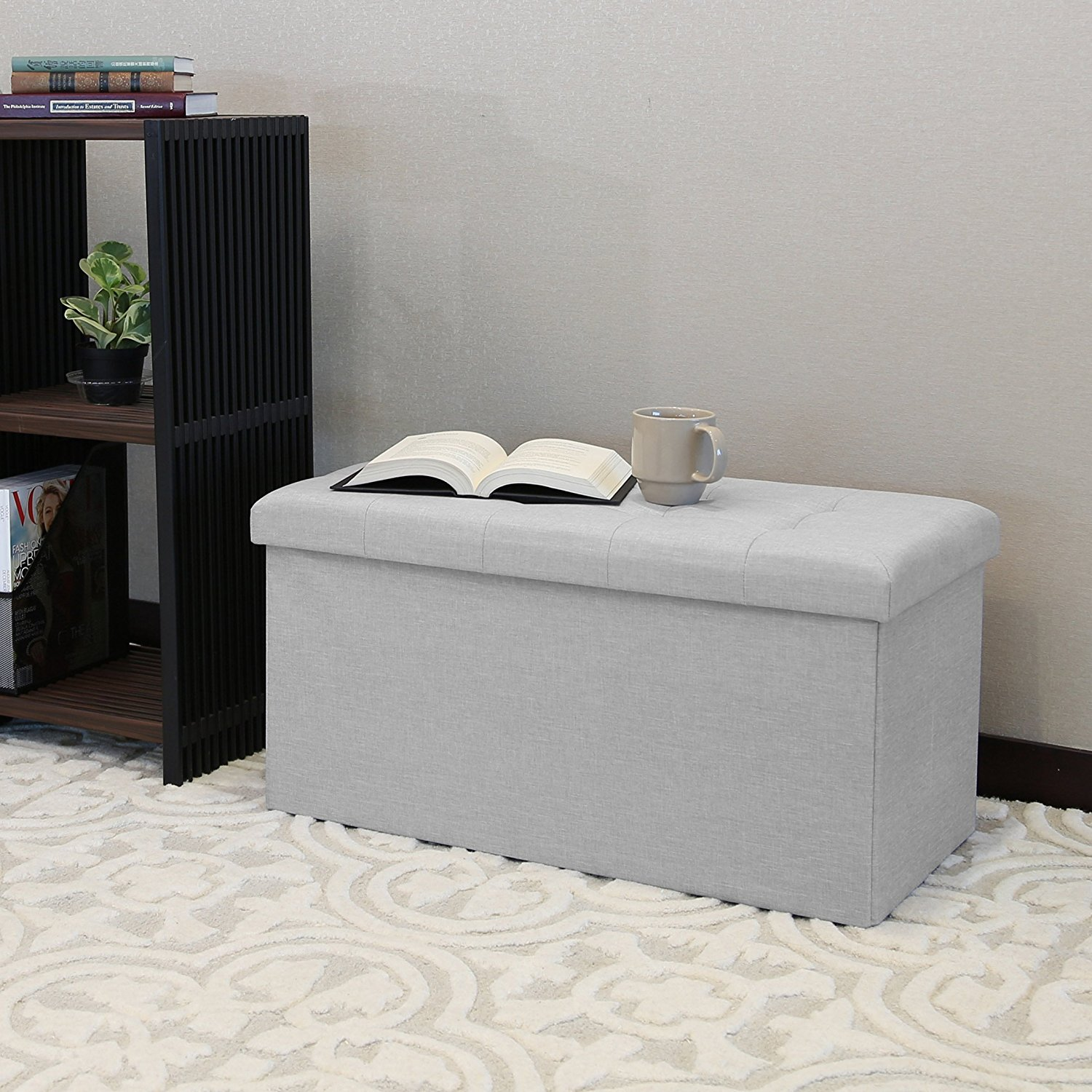 [Review] Seville Classics Foldable Storage Ottoman Bench & The Most Affordable Ottoman - Seville Classics Foldable Storage ...