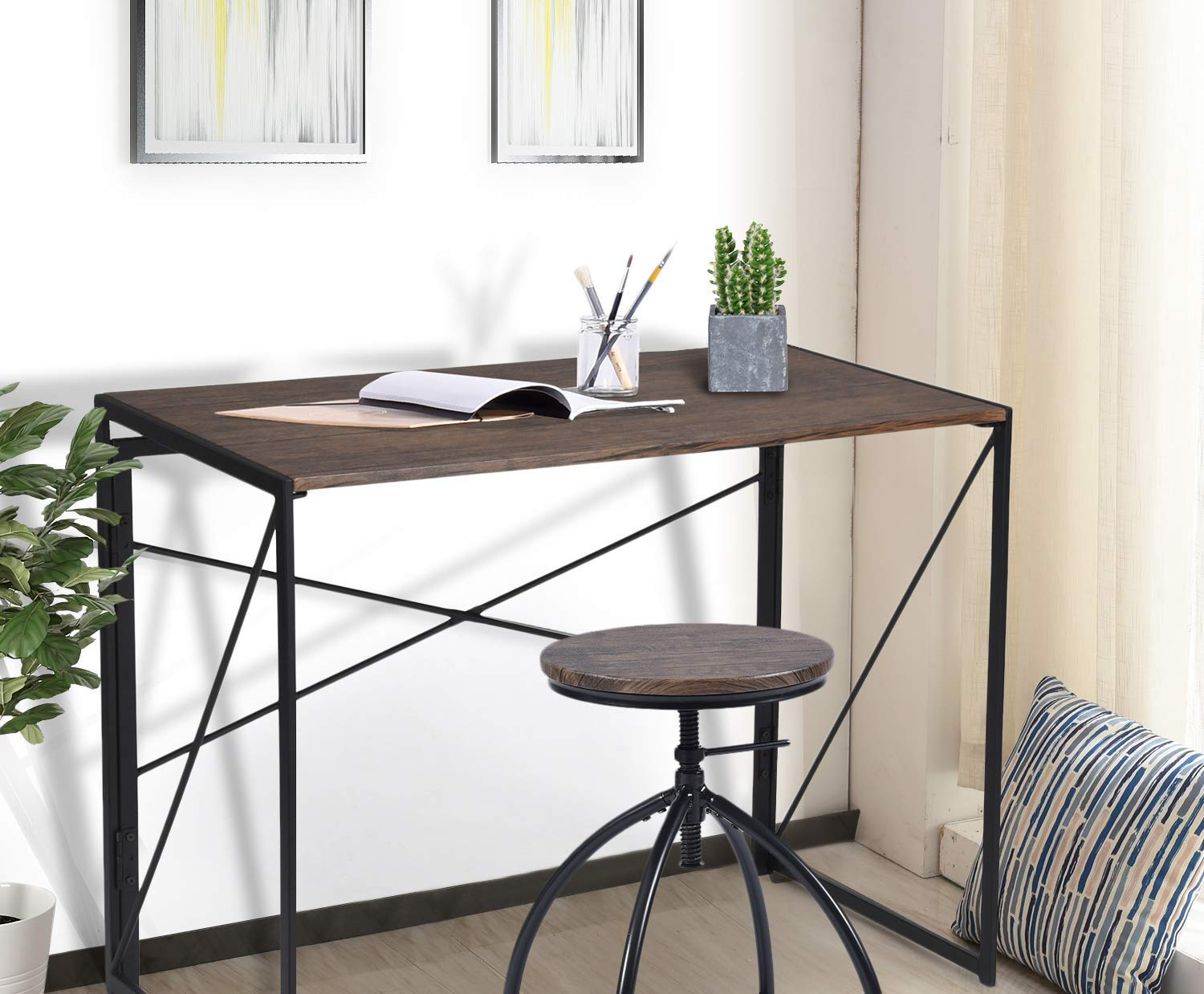 Fine Review Coavas Industrial Style Folding Laptop Table Cozy Short Links Chair Design For Home Short Linksinfo