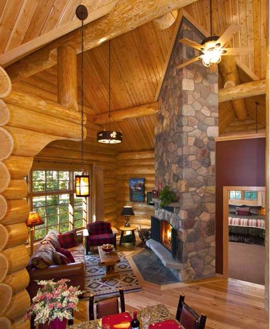 Jasper resort cabin fireplace
