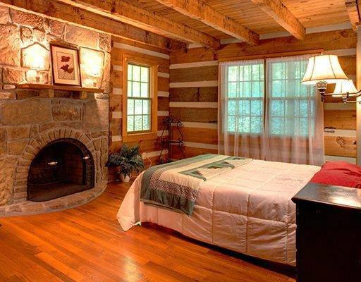 Rustic log cabin bedroom