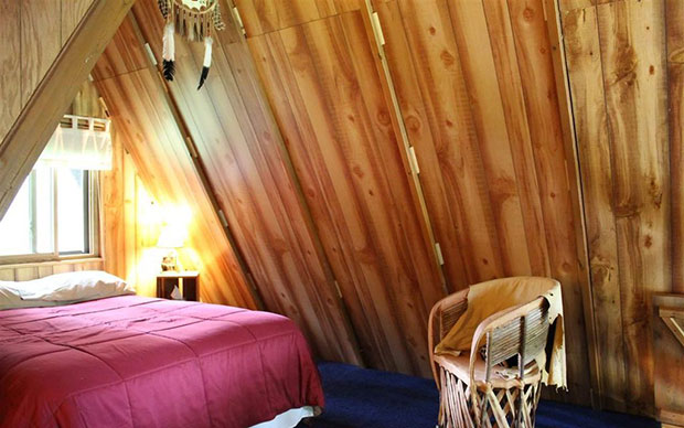 A frame cabin loft