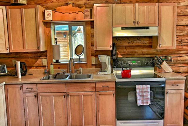 Alaska log cabin kitchen